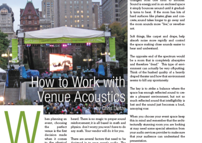 """How to Work with Venue Acoustics"" by Chris Dietze"